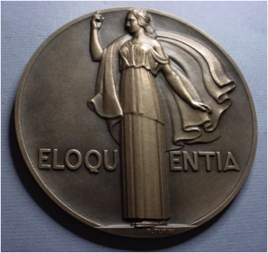Description: Eloquentia medal by Pierre Turin